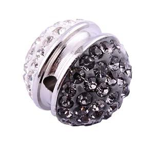 Kadima Swarovski Elements ,Disco Ball ,Shamballa Ball , Lots of 12pcs 14MM Shamballa Inspired Pave Crystals Alloy Ball - Crystal/Black Diamond