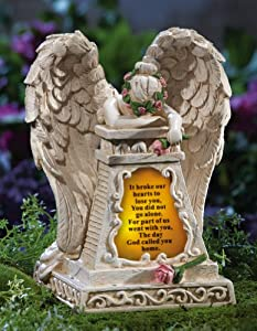 Solar Lighted Weeping Angel Memorial Garden Stone