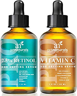 Art Naturals Vitamin C serum (1.0 oz) and Vitamin A Retinol Serum (1.0 oz) for Anti Wrinkle and Dark Circle Remover
