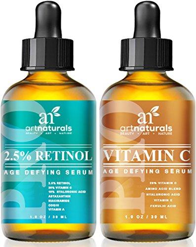 Art Naturals Vitamin C (29 ml) & Retinol Serum (29 ml), Bestes Anti-Falten & Anti-Aging Serum für Gesicht & Sensible Haut - Klinische Stärke mit Naturreinen Wirkstoffen   Bestens geeignet zur Anwendung über Nacht Gegen Augenringe   Für Männer & Frauen thumbnail