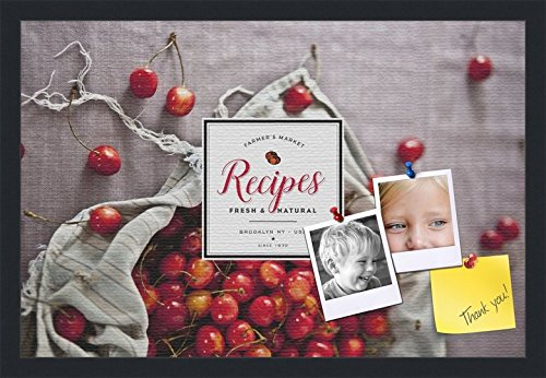 PinPix decorative pin cork bulletin board made from canvas, Recipe Board with Bag of Cherries printed at 24x16 Inches and framed in Satin Black (PinPix-Group-36) (Recipe Board compare prices)