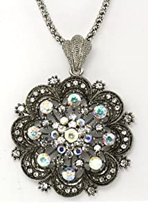 Victorian Austrian Crystals Double Layer of Petals Big Flower Pendant Necklace - Clear