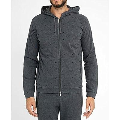 (アルマーニ・コレツィオーニ) ARMANI COLLEZIONI メンズ トップス トレーナー Charcoal Graphic Zipped Sweatshirt 並行輸入品