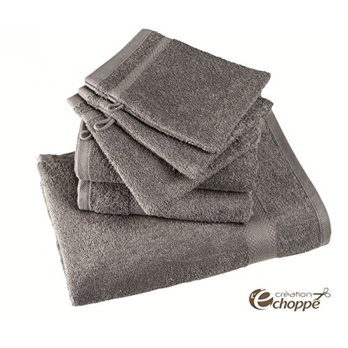 ECHOPPE - Lot de 12 gants de toilette coloris gris