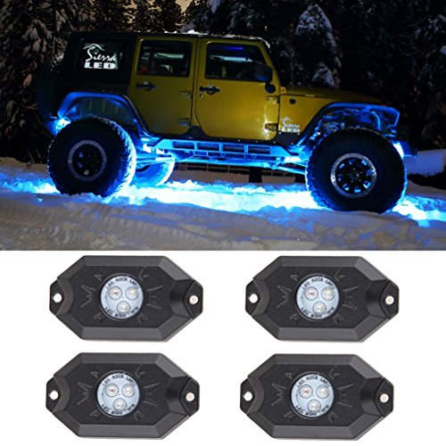Esyauto multi-color RGB LED Rock Light Kits with Wireless Remote Control for Cars Truck Exterior 4 Wheeler ATV SUV Jeep Mine Boat Motorcycle Waterproof Shockproof Neon Replacement ( 4 Pack ) (Auto Crane Remote compare prices)