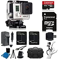 GoPro HERO3+ Silver Edition Camera HD Camcorder + 2 Extended Batteries with Charger + 6 FT HDMI Cable + Gripster III Flexible With 64GB MicroSDXC Class10 And Much More Complete Deluxe Accessory Bundle from PHOTO4LESS