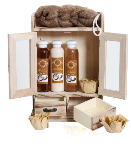Brubaker Cosmetics 10 Pcs Beauty Gift Set Women Wooden Cabinet Coconut