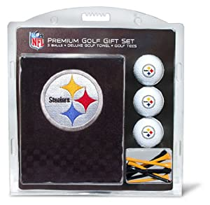 NFL Pittsburgh Steelers Embroidered Golf Towel (3 Golf Balls 12 Tee Gift Set) by Team Golf
