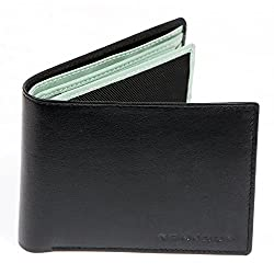 Bonjour Mens Black & Green Leather Wallet_RUA4R7016