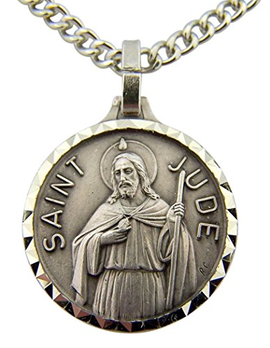 French Nickel Silver Patron Saint Jude the Apostle Medal, 7/8 Inch