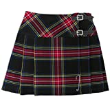 Black Stewart 16.5 Inch Tartan Scottish Highland Mini Kilt Skirt Free Pin 6-28