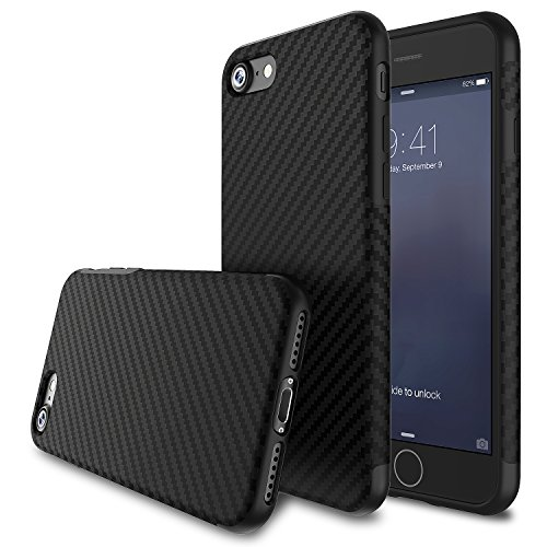 BASSTOP 4.7-Inch Super-Slim Anti-Slip Grip  Carbon Fiber Hybrid Rubberized Full Body Protector Cover Premium Flexible Soft TPU Case for Apple iPhone 7 - Black 4.7