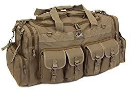 Mens 30 Inch Tan Molle Tactical Shoulder Strap Travel Bag with Large Key Ring Carabiner