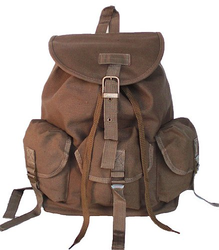 Military Inspired Drawstring Closure Stylish Backpack Canvas Day Pack Tan
