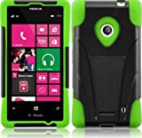 E-Time(TM) Nokia Lumia 521 Armor Shock Proof Heavy Duty Stand Cases with Swivel Belt Clip Cover + Premium Screen Protector and Ultra-sensitive Stylus Pen (green)
