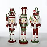 Hollywood Nutcrackers Kurt Adler 11-Inch Hollywood Gift Hat Nutcracker, Set of 3