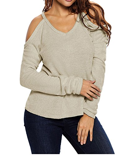Eiffel Women's Cold Shoulder Knit Long Sleeves Pullover Sweater Tops Blouse Tunic Apricot