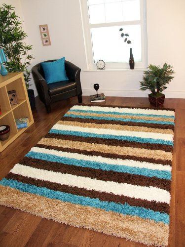 Helsinki 1953 Teal Turquoise Blue, Brown & Beige Modern Stripes Shaggy Rugs - 5 Sizes