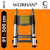 WORHAN® 5m (16' 4'') Double Telescopic Foldable Extendable Multipurpose Aluminium A Frame Robust Ladder Step Ladder (......5m C-line) K5C