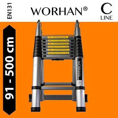 WORHAN-5m-TELESKOPLEITER-2-in-1-ANLEGELEITER-KLAPPLEITER-ALU-TELESKOP-LEITER-MULTIFUNKTTIONS-LEITER-500cm-K5-5m-C-Line