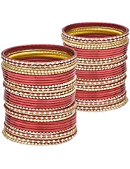 Glossy Glass Bangle Set-red Lacquer Wedding Bangles For Women