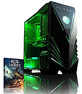 VIBOX Warrior 4X - Fast 4.0GHz 6-Core, High Spec, Desktop Gaming PC, Computer with WarThunder Game Bundle, Neon Green Internal Lighting Kit PLUS a Lifetime Warranty Included* (AMD FX 6300 Six Core Processor, 2GB AMD Radeon R9 270 HDMI Graphics Card, High Grade 500W PSU, 2TB HDD Hard Drive, 8GB 1600MHz RAM, DVD-RW, SD Memory Card Reader, No Operating System)