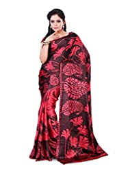 Alethia Red & Brown Crepe Daily Wear Printed Sarees With Blouse Piece