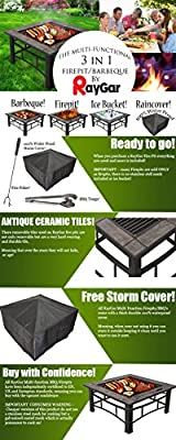 Raygar Fp44 Multifunctional 3 In 1 Outdoor Garden Square Fire Pit Bbq Ice Bucket Patio Heater Stove Brazier Metal Firepit Protective Cover -  by RayGar