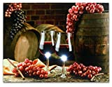 Wine Canvas Art -- Wall Art with LED Lights -- Canvas Print -- 2 Wine Glasses with Grapes and Barrels Picture - Glass Grapes on Barrel - 12x16 Inch