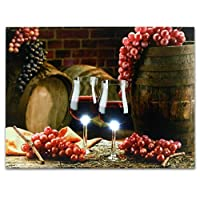 Wine Canvas Art - Wall Art with LED Lights - Canvas Print - 2 Wine Glasses with Grapes and Barrels Picture - Glass Grapes on Barrel - 12x16 Inch