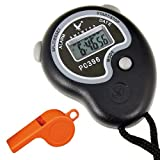 Jazooli Sports Digital LCD Handheld Stopwatch Timing Stop Watch Timer Whistle