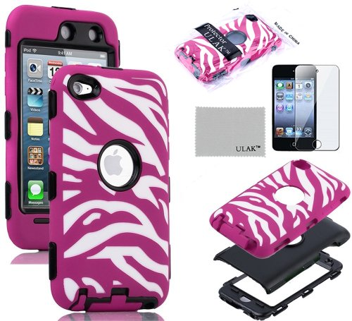 Pandamimi Ulak(Tm) Zebra Design Combo Black Hard Pc And Hot Pink Soft Silicon Case Cover For Apple Ipod Touch 4 4Th Gen And Screen Protector