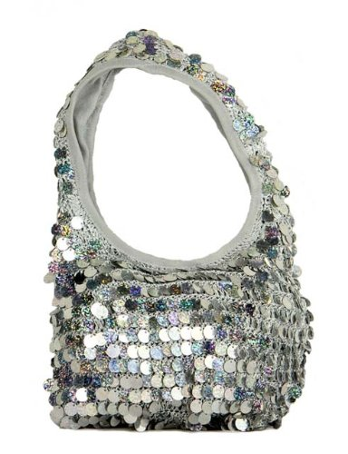 "8"" Diva Fashion Purse Small Light Gray Hobo Handbag with Shiny Flat Disk Sequins"