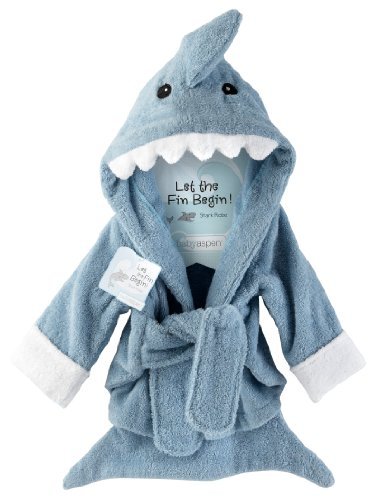 "Baby Aspen ""Let The Fin Begin"" Terry Shark Robe, 0-6 Months"