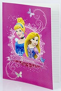 Disney Princess A4 Ruled Notebook Cinderella & Rapunzel from Tangled Pink Soft Cover
