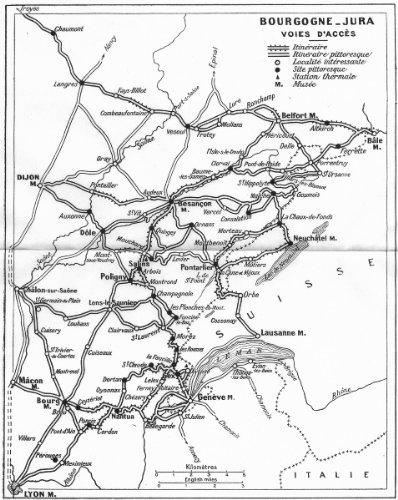 France: Bourgogne-Jura Voies D'Acces, 1924 Map