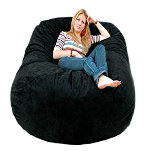 Cozy Sack Foam Bean Bag Chair Black Large 6'