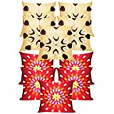 Felt & Laser Leaves Embroidery Cushion Covers Combo Beige & Red 40 X 40 Cms(10 Pcs Set)