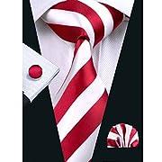 Hi-Tie Men's Red Solid Plaid Striped Paisley Woven Jacquard Tie Necktie Set