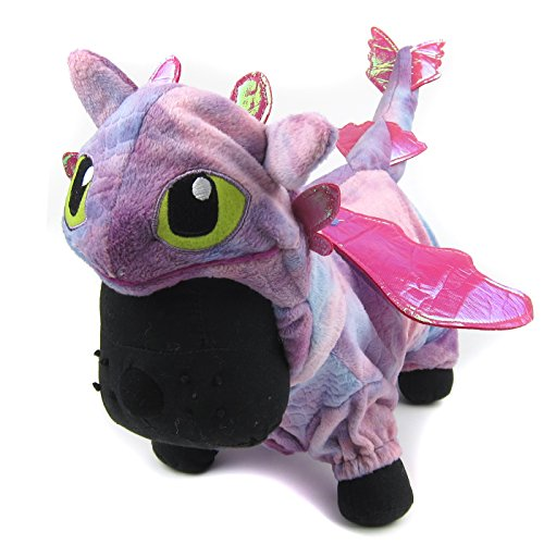 [Alfie Pet by Petoga Couture - Night Fury Dragon Costume - Color: Pink, Size: Large] (Night Fury Costume For Cat)