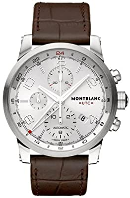 Montblanc Timewalker Silver Dial Brown Alligator Leather Chronograph Mens Watch 107065
