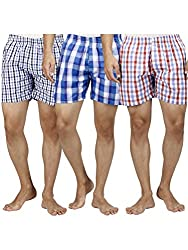 Mix Cotton Checkered Assorted Single Pocket Mens Boys Nightwear Sexy Beach Shorts Boxer (Pack of 3)