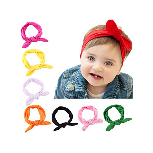BiBang® Baby Girls Toddler Bow Headbands Turban Knot Rabbit Hairband Headwrap Headwear (Pack of 8)