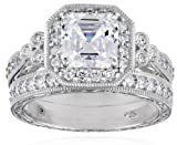 Sterling Silver Swarovski Zirconia Asher Antique Wedding Ring Set