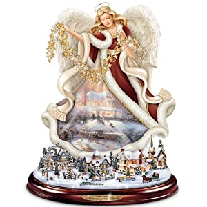 Thomas Kinkade Tabletop Angel Sculpture: Blessings Of The Season by The Bradford Exchange