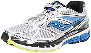 Saucony Men's Guide 8 Running Shoe,White/Blue/Citron,10 M US