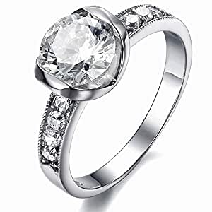 Amazon.com: Women's Stainless Steel Chic Heart CZ Stone