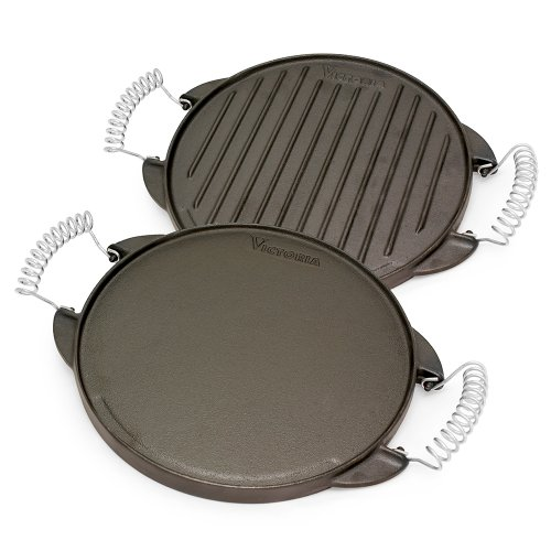 Victoria Reversible Cast Iron Round Griddle with Removable Cool-Touch Handles, 10 inch