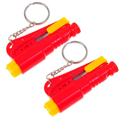 2 Set Life Hammer Car Emergency Tool Emergency Window Breaking Tool Safety Hammer Auto Keychain Belt Car Knife Emergency Rescue Tool Glass Breaker Car Safety Tool Window Broken Tool Seat Belt Cutter Red front-727687