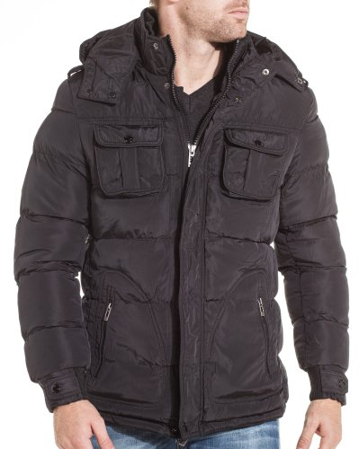 Gov denim - Black man jacket with detachable hood - Color: Black Size: S